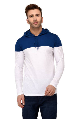 White Cotton Colourblocked Hooded Tees - Trend Eve