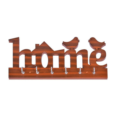 HOME name Hand Made Key stand With Birds, Glossy Harvest Wood Color Wood Key Holder  (6 Hooks) - Trend Eve