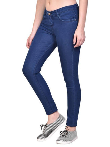 Navy Blue Silky Denim Solid Jeans