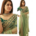 Trendy Green Embroidered Net Saree with Blouse piece