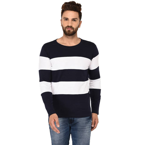 Multicoloured Cotton Striped Round Neck Tees - Trend Eve