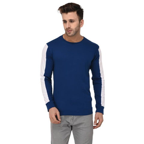 Blue Cotton Self Pattern Round Neck Tees - Trend Eve