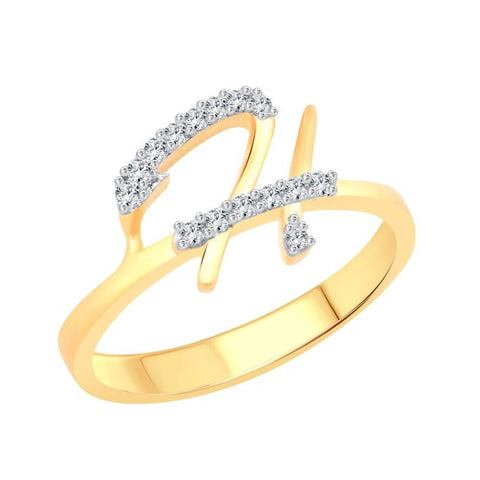 ''H'' Letter (CZ) Gold and Rhodium Plated Alloy Ring for Women and Girls - Trend Eve