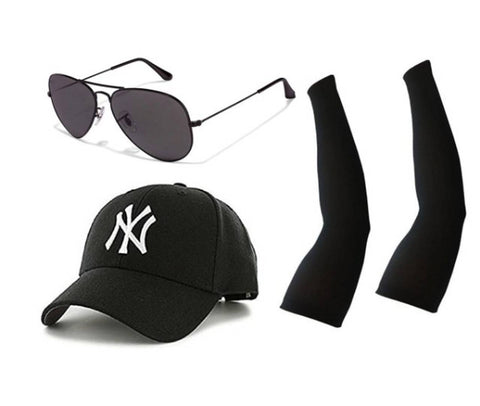 Combo Of Black Aviator Sunglass With Get Arm Sleeves & Black Cap