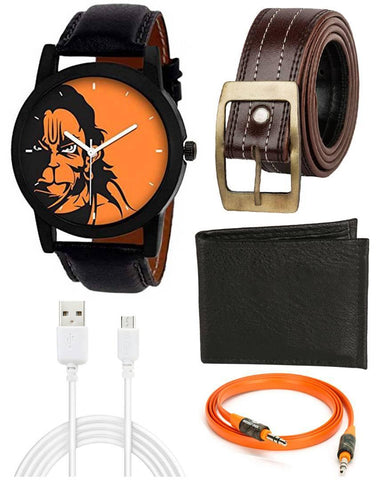 Co Hanuman Orange Dial Analog watch , Brown Belt , Black Wallet With Aux Cable  And Data Cable