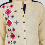 Fashionable Beige Printed Cotton  Kurti - Trend Eve