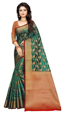 Green Printed Silk Cotton Saree with Blouse piece
