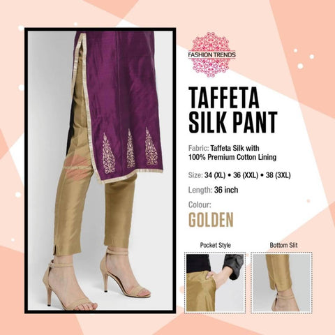 Women's Taffeta Silk Pant With Pockets