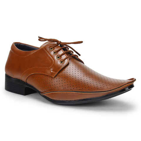 Elegant Tan Solid Synthetic Leather Formal Shoes