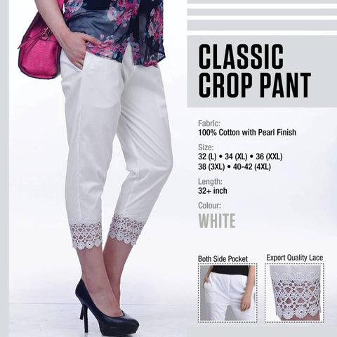 Cotton Classic Crop Pant For Women's