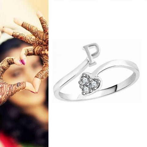 Initial 'P' Alphabet CZ Rhodium Plated Alloy Adjustable Ring for Women and Girls - Trend Eve