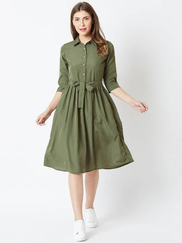 Olive Solid Collar Crepe Fit and Flare Dress