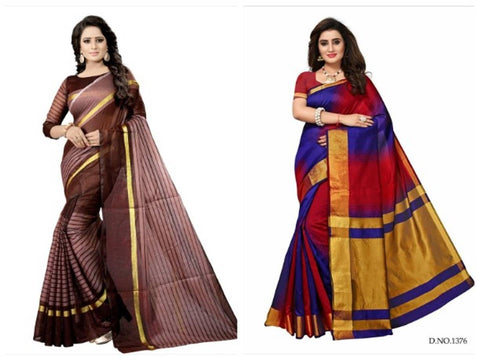 Combo Of 2 Multicoloured cotton Saree with blouse - Trend Eve