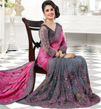 Chicplus Designer Pink Poly Georgette Bollywood Embroidered Saree with Blouse piece