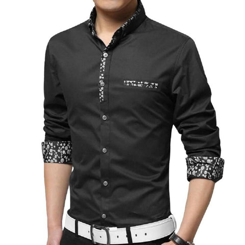 Men Black Cotton Long Sleeves Casual Shirts - Trend Eve