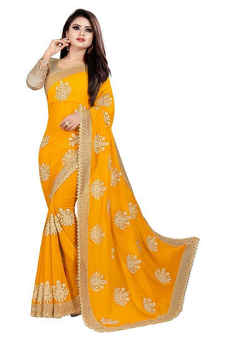 Stylish Yellow Georgette Embroidered  Saree with Blouse piece