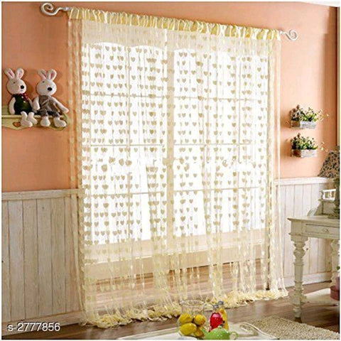 Multicoloured Polyester Eyelet Fitting Solid Curtains (Set Of 2) - Trend Eve