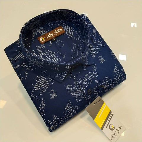 Men's Navy Blue Cotton Printed Long Sleeves Regular Fit Casual Shirt