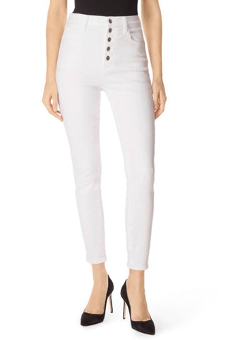 Women's White Denim Solid High Waist Jeans