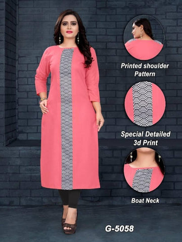 Alluring Pink Cotton Digital Printed Women's Kurti
