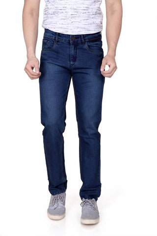 Men's Blue Denim Solid Slim Fit Low-Rise Jeans