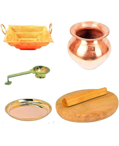 Aaina Creatiins Utensils for Pooja Samagri (Set of 5 Pcs)