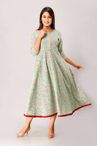 Cotton Floral Print Anarkali Kurta In Pista