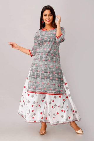Cotton Printed Straight Kurta With Palazzo Set (Grey;White)