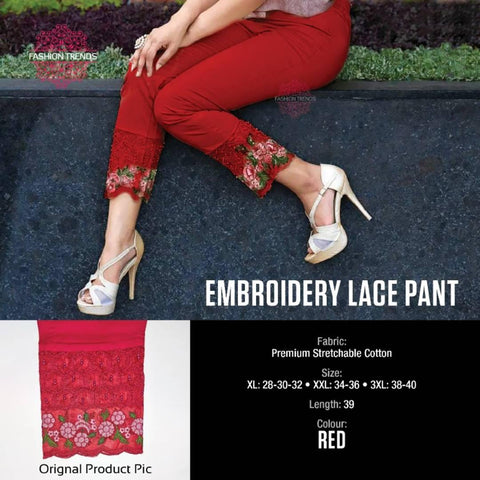 Trendy Embroidery Pants