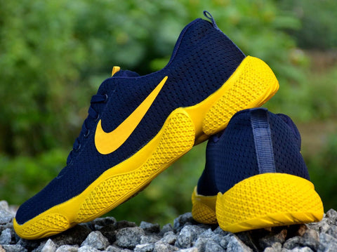 Men's Navy Yellow Mesh Smart & Trendy Sports Shoes