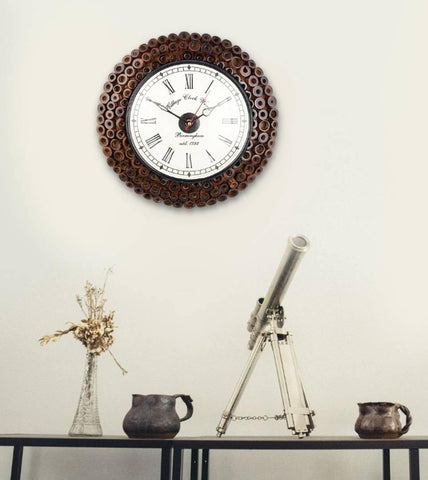 Designer Wall Clock 12 inch with Antique Look Vintage Dial and Bamboo Finishing.