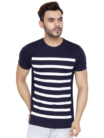 Men's Multicoloured Cotton Blend Striped Round Neck Tees - Trend Eve