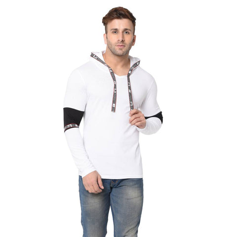 Men's White Typography Cotton Self Pattern Hooded T-Shirt - Trend Eve