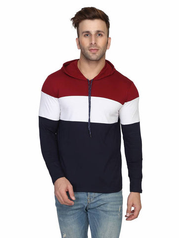Men's Multicoloured Cotton Colourblocked Hooded Tees - Trend Eve