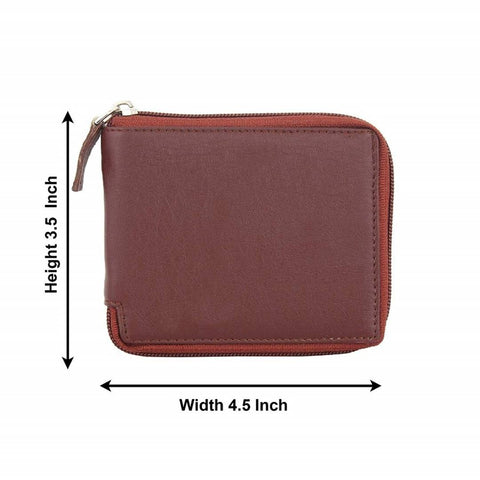 Leather Rite Brown Zipper Wallet for Men's and Women