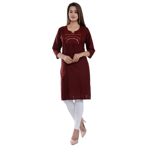 Reliable Maroon Cotton Mirror Work Straight Women's Kurti