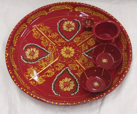 Diwali pooja thali pack of 1 size 14 inch - Trend Eve