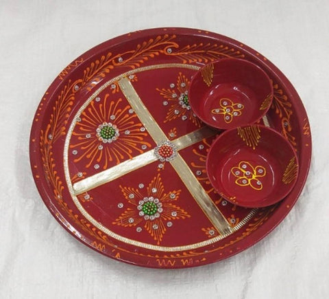 Diwali pooja thali pack of 1 size 12 inch - Trend Eve