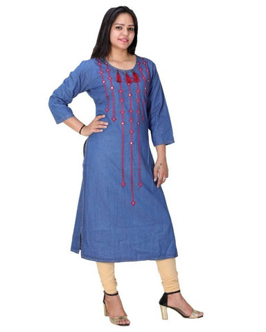 Beautiful Denim Kurti for Women's - Trend Eve