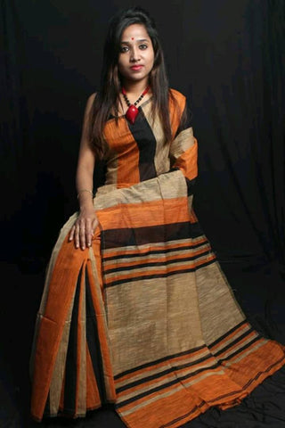 Handloom Silk Cotton Striped Saree with Blouse Piece