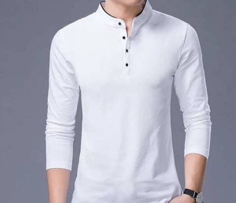 Men's White Cotton Solid T-Shirt - Trend Eve