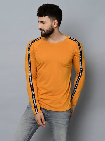 Men's Yellow Cotton Self Pattern Round Neck Tees - Trend Eve