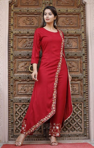 Rayon embroidered Kurta With plazzo set - Trend Eve