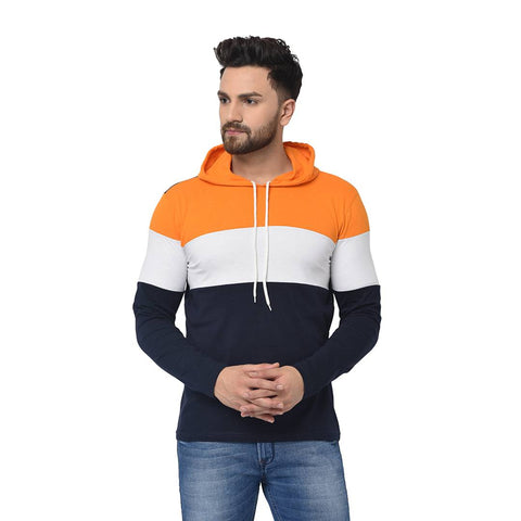 Multicoloured Colourblocked Cotton Hooded T-Shirt - Trend Eve
