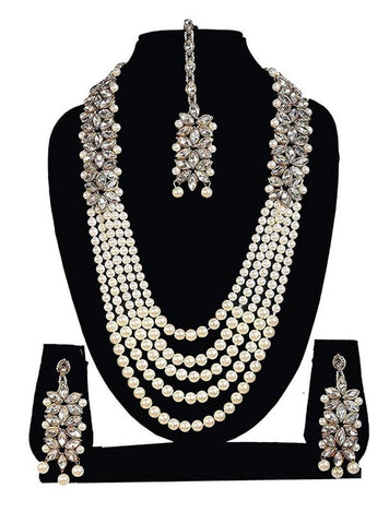 White Crystal Kundan Pearl Long Mala Necklace Set with Earrings and Maang Tikka