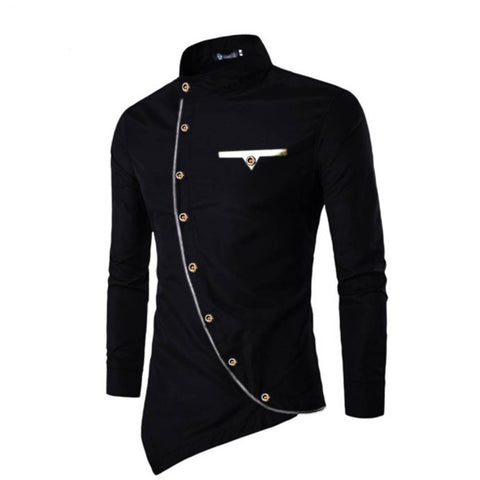 Men's Black Cotton Blend Solid Long Sleeves Slim Fit Casual Shirt