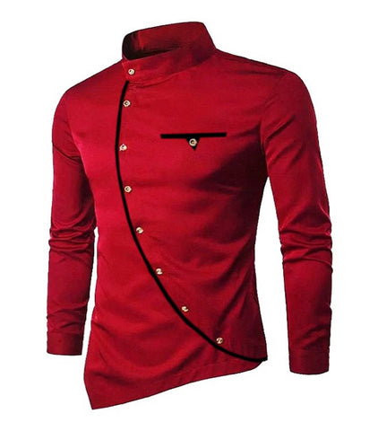 Men's Maroon Cotton Blend Solid Long Sleeves Slim Fit Casual Shirt