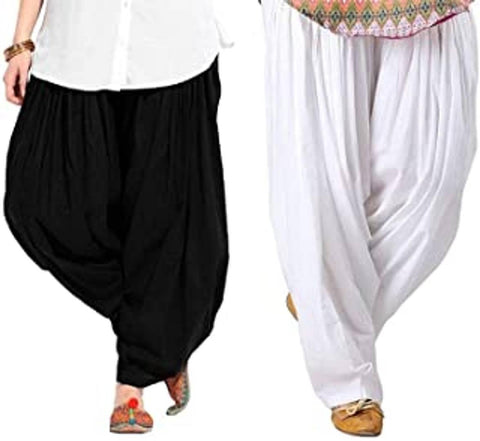 WOMEN COTTON SEMI PATIALA SALWAR PACK OF -2 FREE SIZE(32 TO 36 WAIST)
