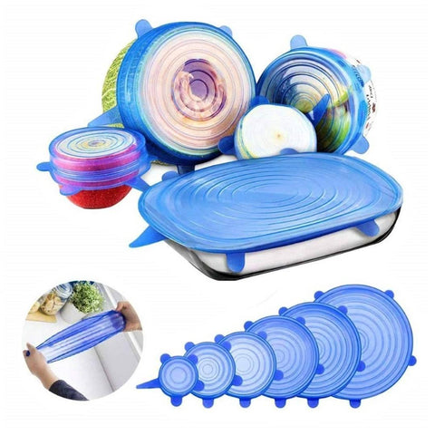 Shopper52 Set of 6 Pcs Silicone Stretchable Lids Flexible Covers for Rectangle Round Square - Bowls Dishes Plates Cans Jars Glassware Mugs Food Fresh Saver Cover - 6PCFOODCOVER