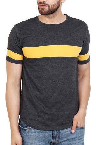 Men's Grey Cotton Self Pattern Round Neck Tees - Trend Eve